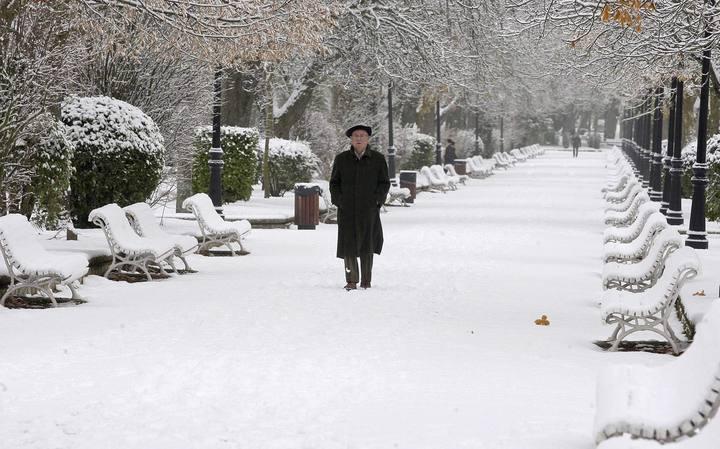 SO02 SORIA, 30/11/2010.- Un hombre pasea por el parque de la Alamdeda de Soria cubierto por la nieve. La borrasca que ha atravesado la península, desde el suroeste al nordeste, ha traído la primera nevada de la temporada, ha bajado los termómetros hasta 10 grados bajo cero en algunos puntos del interior y ha provocado rachas de viento de hasta 190 kilómetros en las Islas Canarias. EFE/Wifredo Garcia